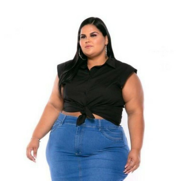 Camisa Regata Tricoline Stretch Feminina Preta Plus Size XP ao G5 3222