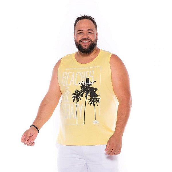Camiseta Regata Beaches Amarelo Plus Size XP ao  G4