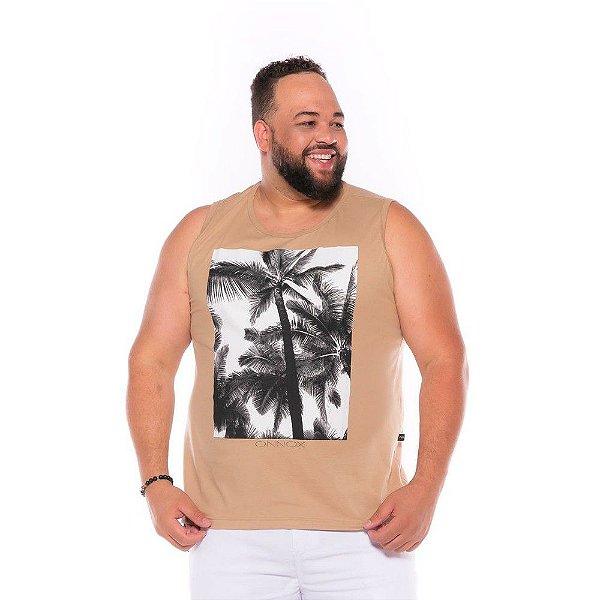 Camiseta Regata Coqueiro Bege Plus Size XP ao G4