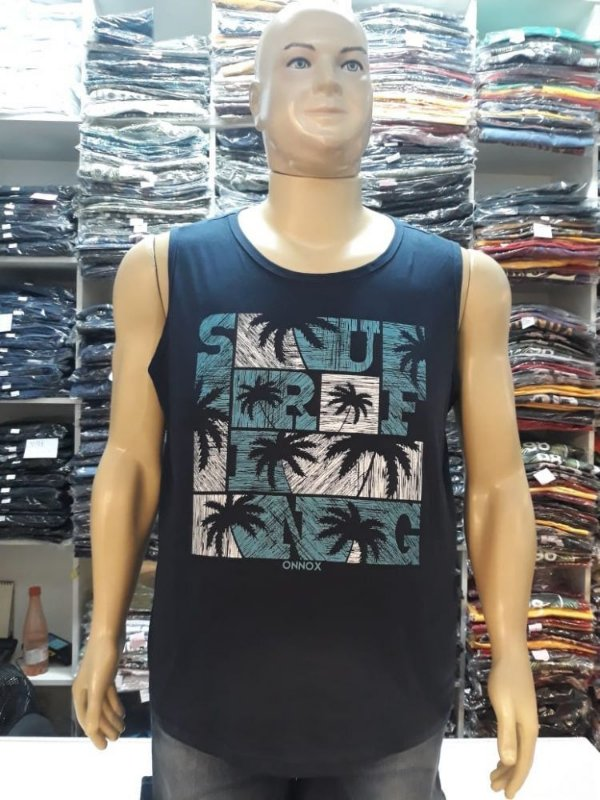 Camiseta Regata Machão Surf Azul Plus Size