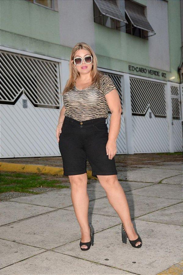 Bermuda Ciclista Jeans Preta Plus Size 3029