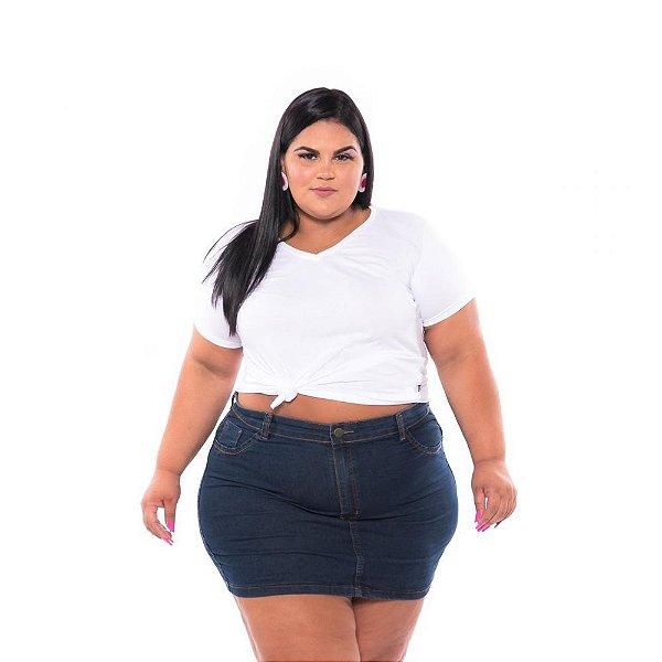 Mini Saia Jeans com Stretch Feminina Plus Size 44 ao 66 3195