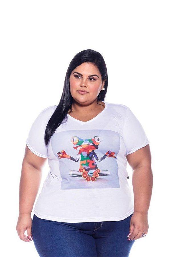 T-shirt Feminina Estampada  Sapo Plus Size