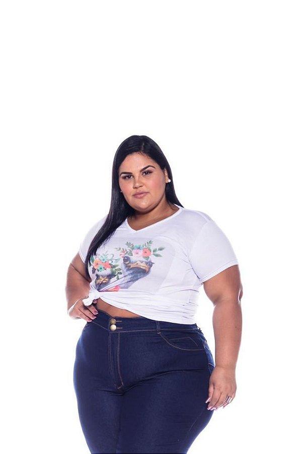 T-shirt Feminina Estampada Ganso Plus Size