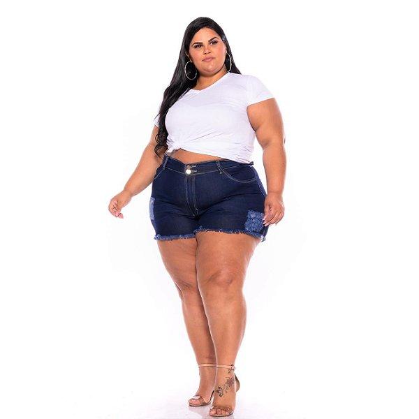 Short Jeans Escuro Destroyer Barra Desfiada Plus Size 62 Ao 70