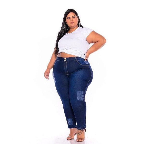 Calça Feminina Stone Puido Barra Desfeita Plus Size 44 Ao 60