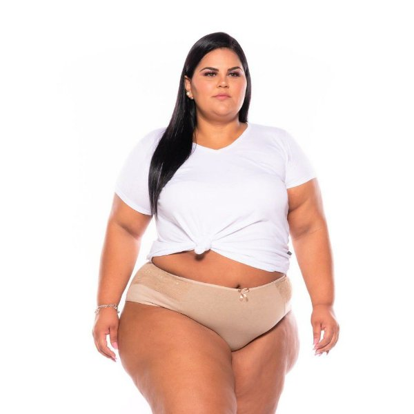 Kit 4 Calcinha Cotton Lycra Renda Bege Plus Size Xm Ao G5
