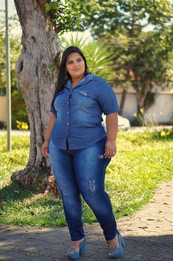 Calça Jeans Stretch Rasgada Feminina Plus Size 3129