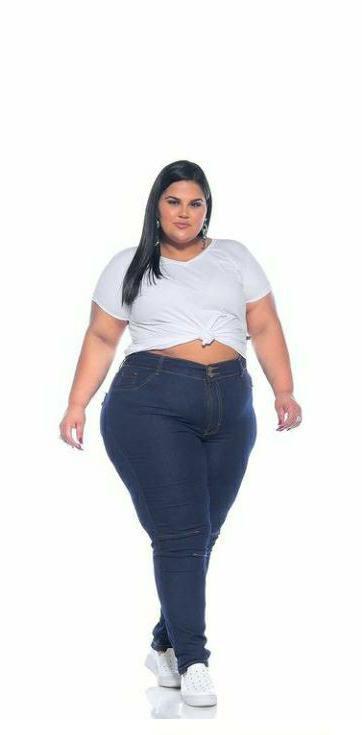 Calça Jeans Stretch Com Recorte Feminina Plus Size 3160