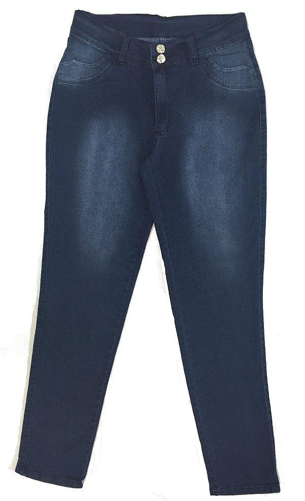 Calça Jeans Stretch Bordado no Bolso  Feminina Plus Size 1534