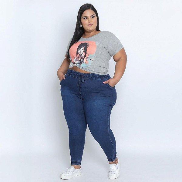 Calça Jogger Moleton Jeans Stretch Escuro Plus Size Feminina 3191