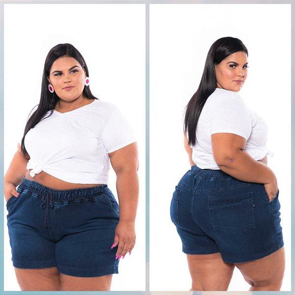 Short Jogger Moleton Jeans Feminino Plus Size 3189
