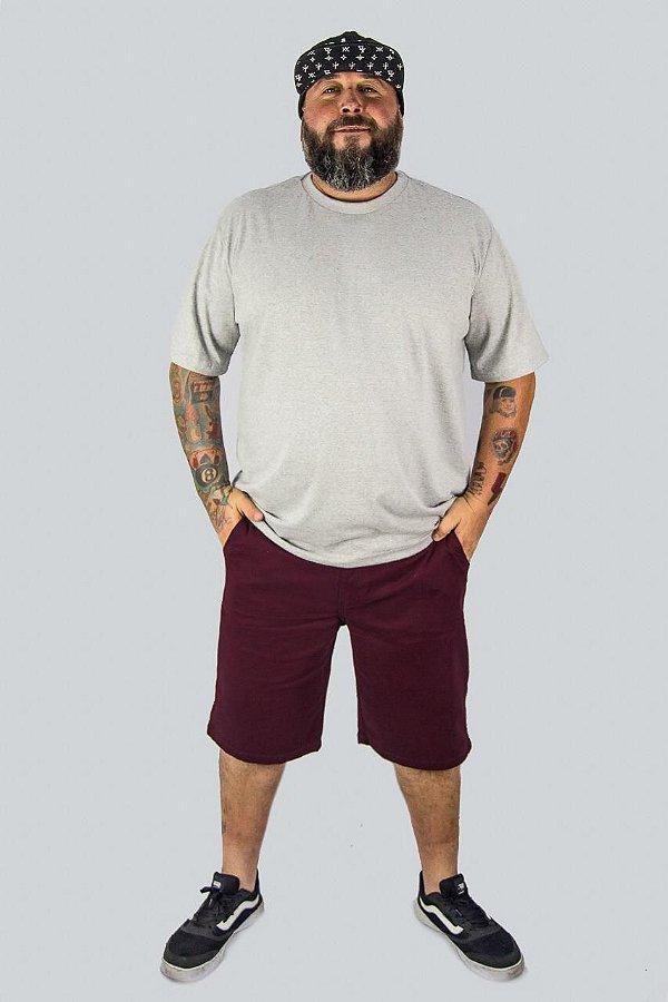 Bermuda de Sarja Stretch Masculina Plus Size Vinho 2019