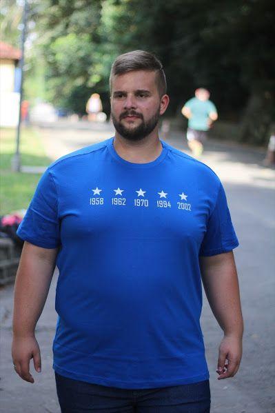 Camiseta Masculina 100% Algodão Brasil Títulos Copa  Plus Size