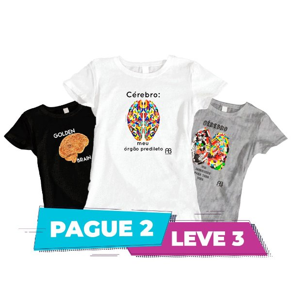 Kit 2 - Camisas baby Look -  Cérebro