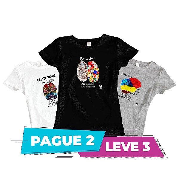 Kit 3 - Camisas baby Look -  Cérebro