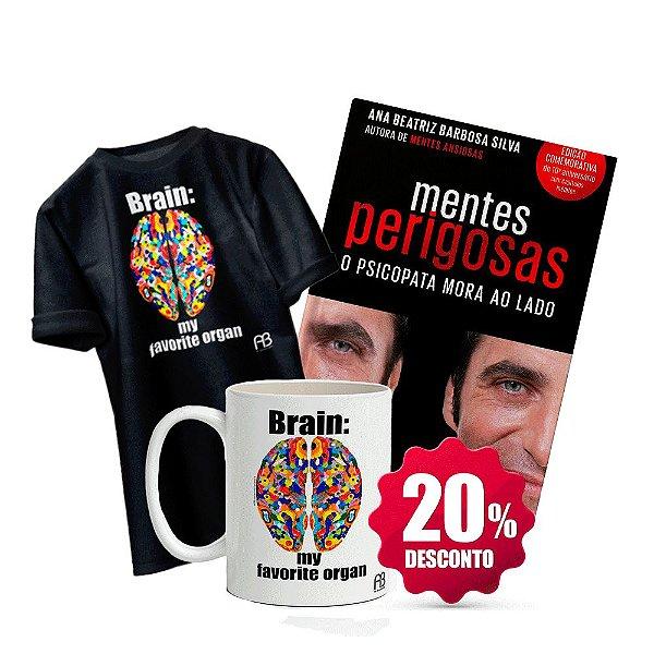 Livro Mentes Perigosas + Camisa Baby Look ou tradicional (Tamanho e cor opcional) - Brain: My Favorite Organ +  Caneca - Brain My Favorite Organ