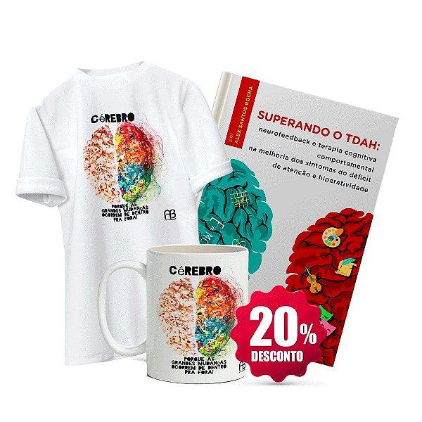 Livro Superando o TDAH + Camisa Baby Look ou Tradicional (Tamanho opcional) - Cérebro de Pipoca + Caneca - Cérebro de Pipoca