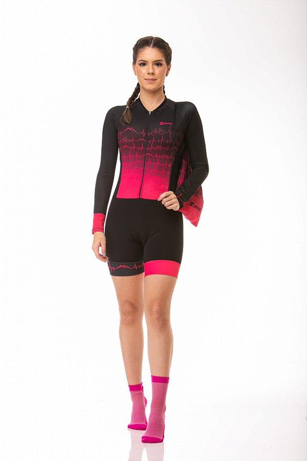 Macaquinho Ciclismo Heart Rosa Longo Z-Nine