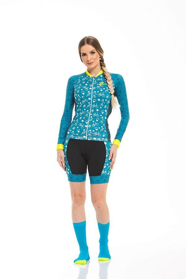 Camisa Ciclismo Sport Longa Acqua Green Z-Nine