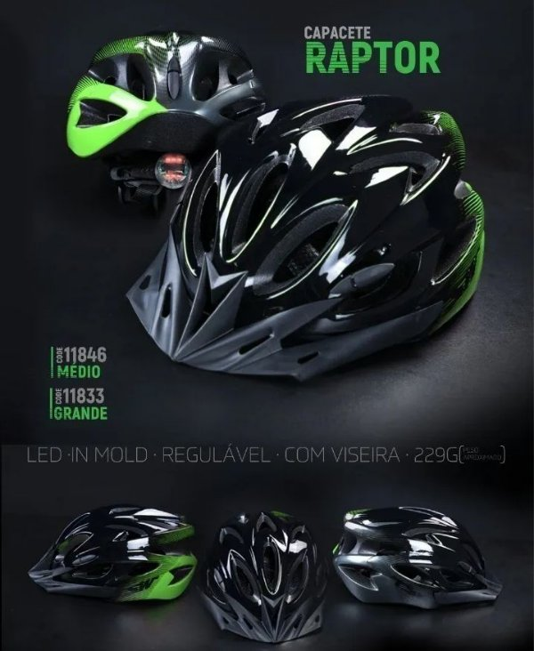 Capacete Raptor Tsw LED Preto/Verde