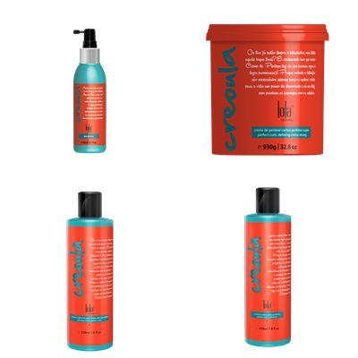 Kit Creoula Lola Cosmetics Cachos Perfeitos c/ 4 Produtos - Condicionador - Creme de Pentear - Água de Coco e Creme Calmante