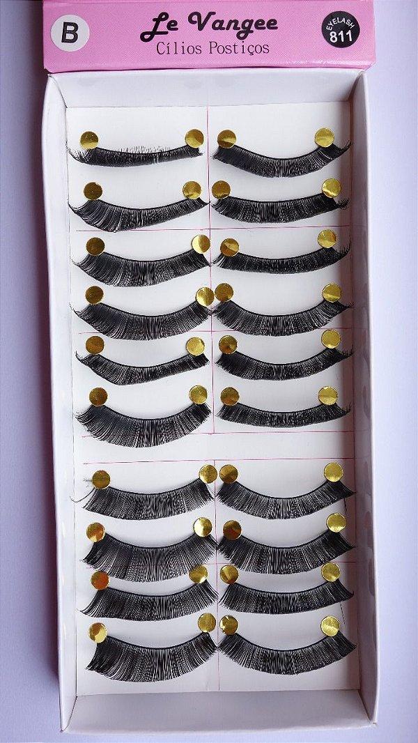 Cartela com 10 pares de Cilios Postiços B - Eyelash 811 - Le Vangee