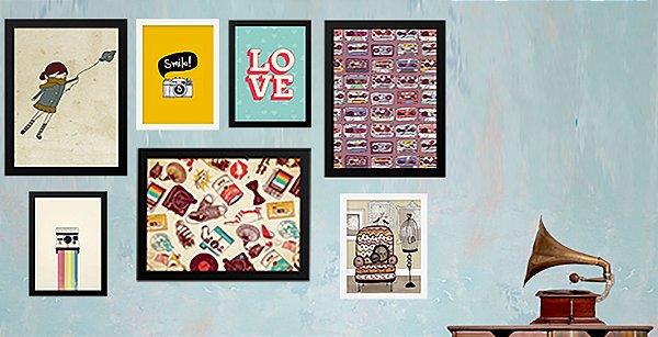 Combo Ambiente Decorativo Tematica Retro Nerderia e Lojaria retro1 colorido