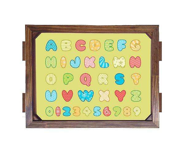 Bandeja De Madeira 30x40 cm Nerderia e Lojaria alfabeta baby madeira