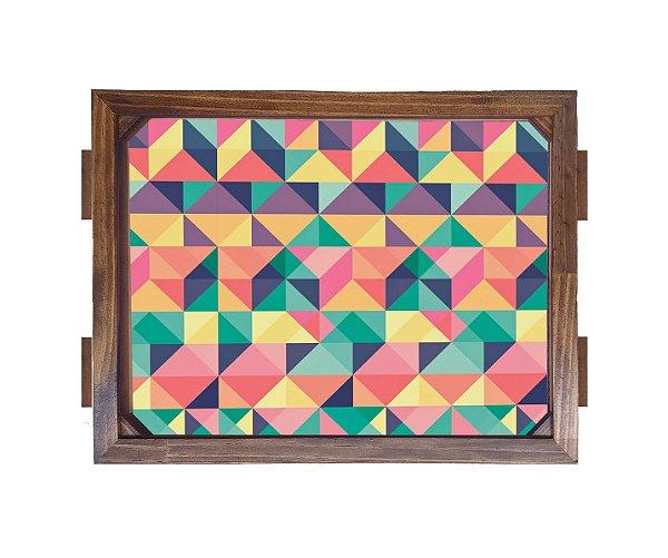 Bandeja De Madeira 30x40 cm Nerderia e Lojaria geometrico triangulos madeira