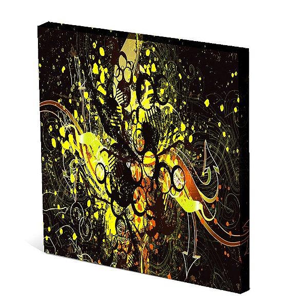 Tela Canvas 30X30 cm Nerderia e Lojaria abstrato gold colorido