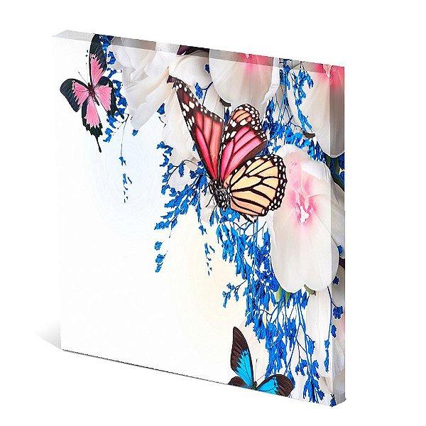 Tela Canvas 30X30 cm Nerderia e Lojaria butterfly rosa azul colorido