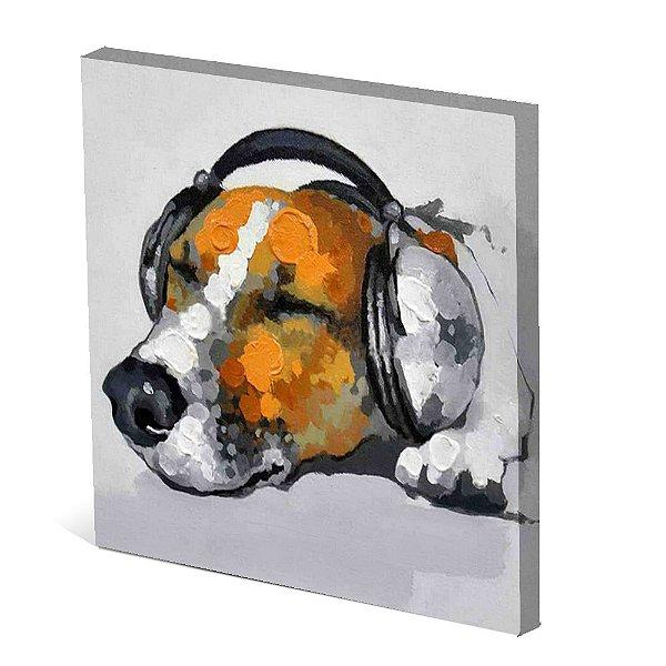 Tela Canvas 30X30 cm Nerderia e Lojaria cachorro de fone colorido