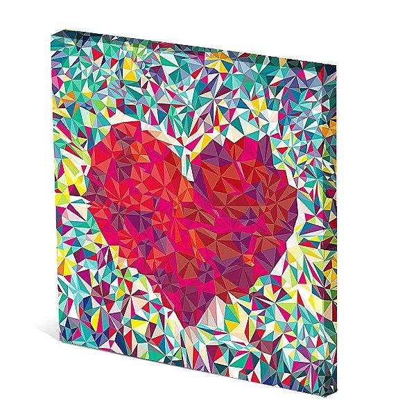 Tela Canvas 30X30 cm Nerderia e Lojaria coração vidro colorido