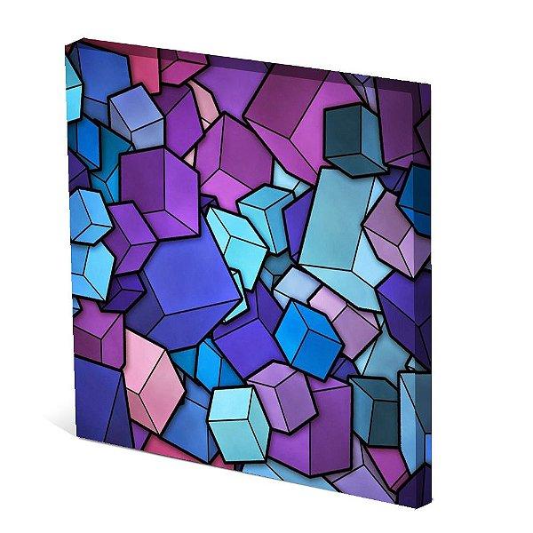 Tela Canvas 30X30 cm Nerderia e Lojaria cubos colorido