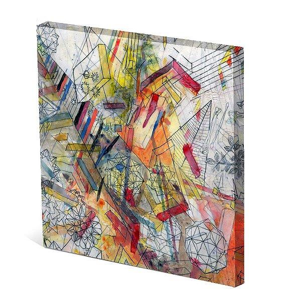 Tela Canvas 30X30 cm Nerderia e Lojaria desenho abstrato colorido