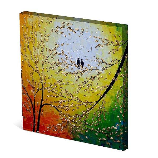 Tela Canvas 30X30 cm Nerderia e Lojaria dois passaro colorido