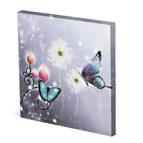 Tela Canvas 30X30 cm Nerderia e Lojaria duas borboletas colorido
