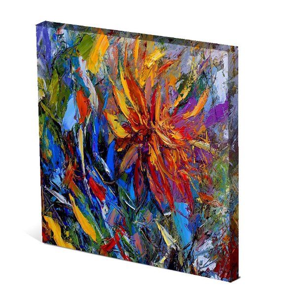 Tela Canvas 30X30 cm Nerderia e Lojaria flor paint colorido