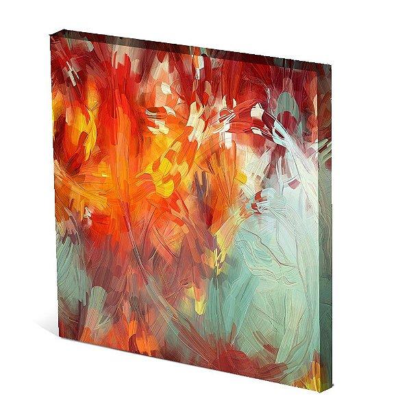 Tela Canvas 30X30 cm Nerderia e Lojaria folhas paint colorido