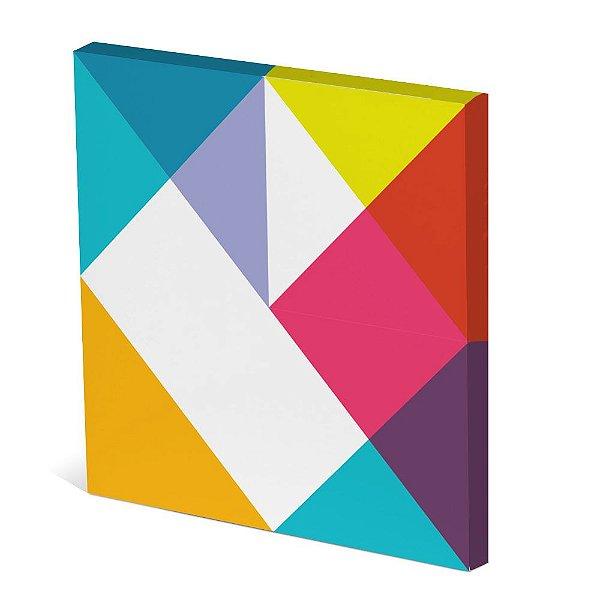 Tela Canvas 30X30 cm Nerderia e Lojaria geometrico colorido
