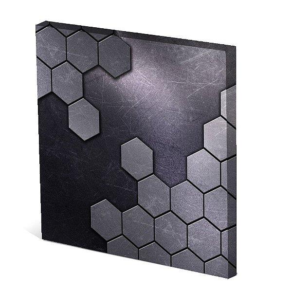 Tela Canvas 30X30 cm Nerderia e Lojaria hexagonos gray colorido