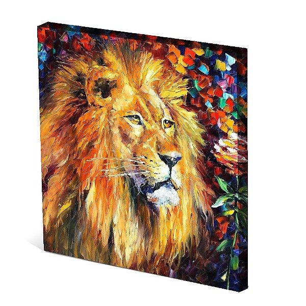 Tela Canvas 30X30 cm Nerderia e Lojaria leao paint colorido
