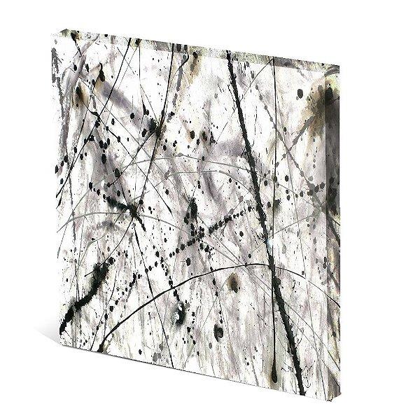 Tela Canvas 30X30 cm Nerderia e Lojaria linhas de tinta PB colorido