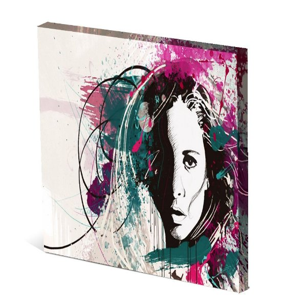 Tela Canvas 30X30 cm Nerderia e Lojaria mulher face colorido