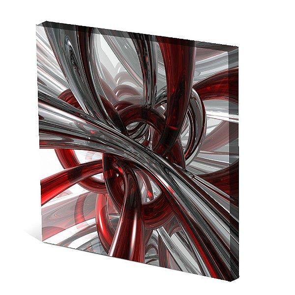 Tela Canvas 30X30 cm Nerderia e Lojaria nó vermelho branco colorido
