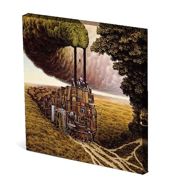 Tela Canvas 30X30 cm Nerderia e Lojaria trem colorido