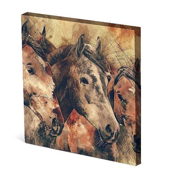Tela Canvas 30X30 cm Nerderia e Lojaria tres cavalos colorido