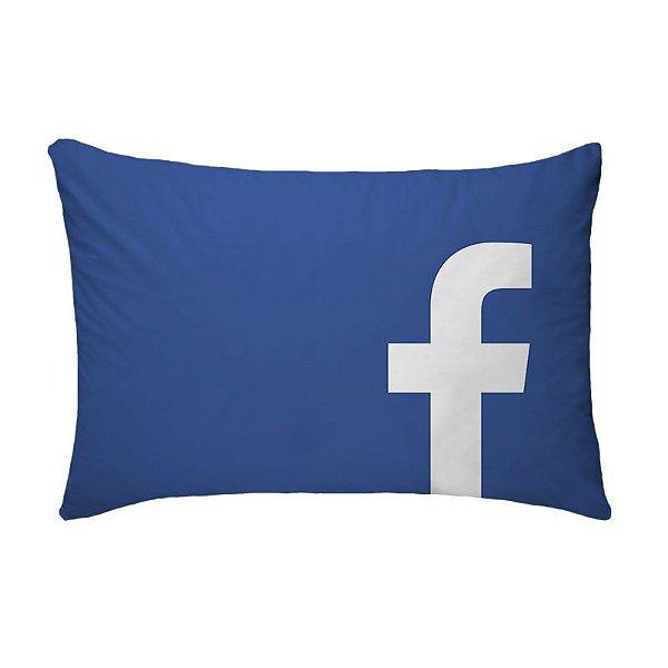Fronha Para Travesseiros Nerderia e Lojaria facebook azul colorido