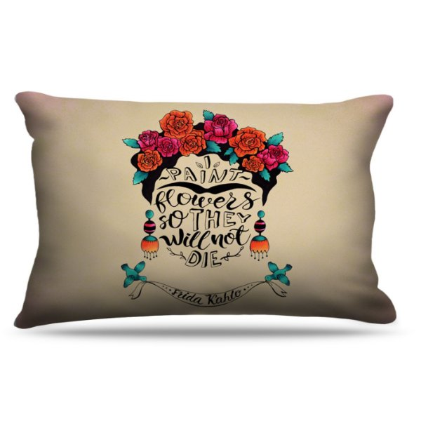 Fronha Para Travesseiros Nerderia e Lojaria frida flowers colorido